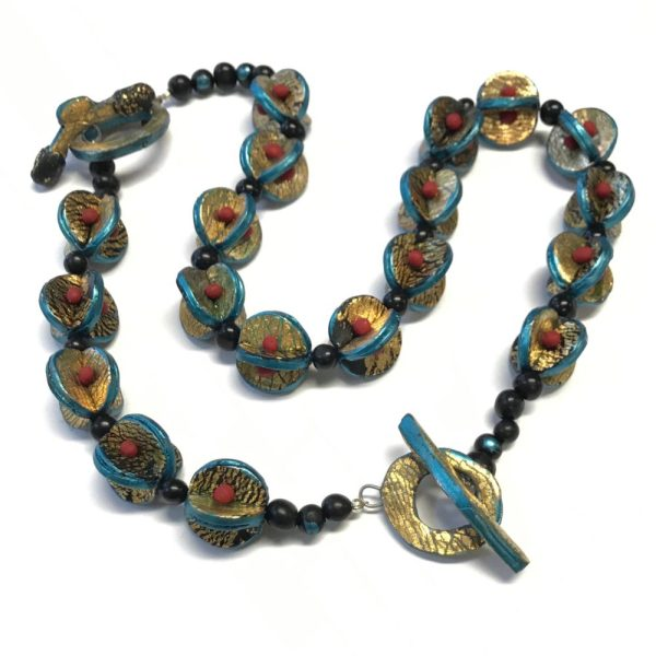 Sleepin' Dog | Convertible Necklace/Bracelet With Handmade Split Disk Beads, Unpolished Natural Chrysocolla Beads, And Toggle Clasp