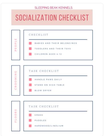 First Experiences Puppy Socialization Checklist