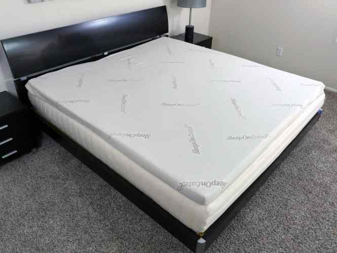 Angled View Of The Sleeponlatex Mattress Topper