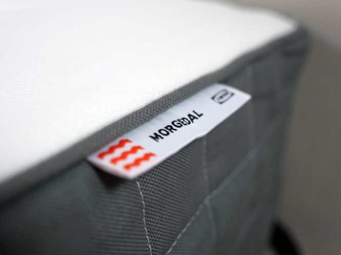 Ultra Close Up Shot Of The Morgedal Mattress Logo