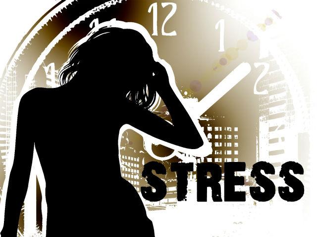 ストレスが溜まった女性のシルエット