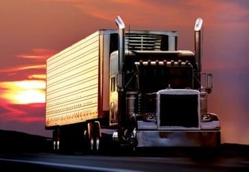 OTR truck at sunset