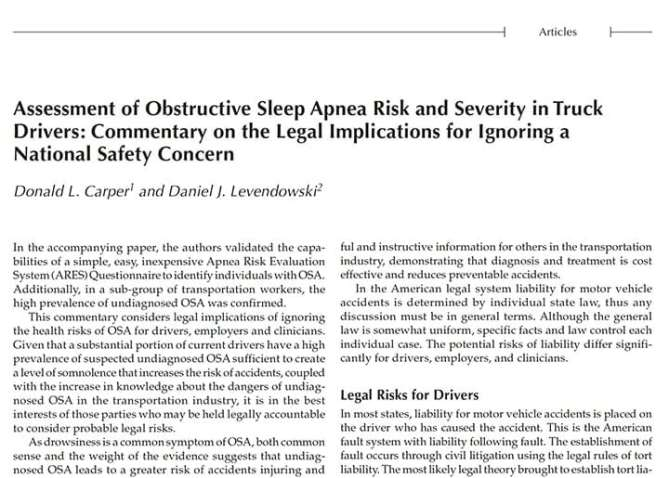 OSA Severity in Truck Drivers: The implications of ignoring national safety concerns