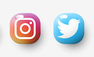 3d Set glossy of popular social app icons with shadow: facebook,