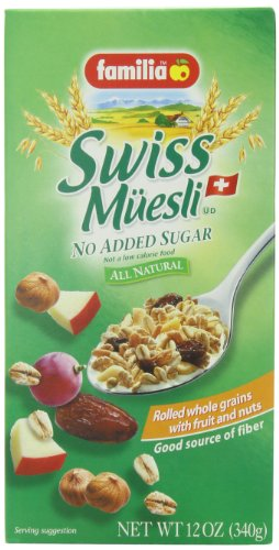 Familia Swiss Muesli – No Sugar, 12-Ounce (Pack of 6)