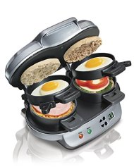 Bonus Pack – Hamilton Beach 25490 Dual Breakfast Sandwich Maker, Makes 2 Sandwiches in 5 Minutes with Bonus Electronic Tripple Kitchen Timer