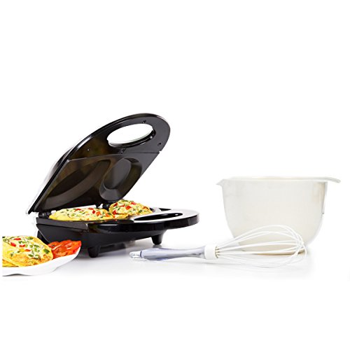 Holstein Housewares HF-09010B-BU Omelette Maker Bundle with Bowl and Whisk, Black