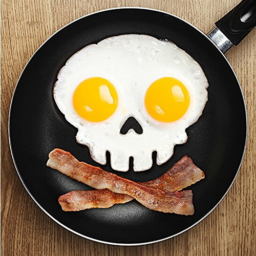 {Factory Direct Sale} Make Ur Breakfast Funny! Silicone Skull Fried Egg Mold Mould Poach Oven Pancake Egg Ring Shaper Novelty Kitchen Tool