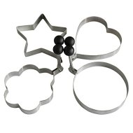 4-Style High Quality Stainless Steel Omelette Egg Ring Pancake Round Mold Omelette Mould Pancake Mold(Set of 4 shape-Heart Star Round Flower Shape)
