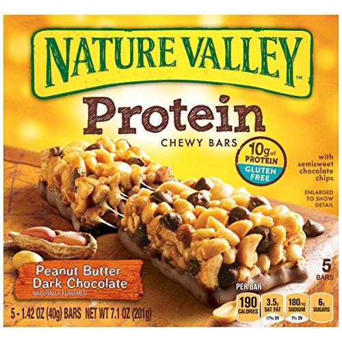 Nature Valley Peanut Butter Protein Bar, Peanut Butter Dark Chocolate, 5 Count