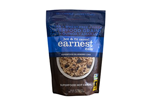 Earnest Eats Vegan Hot Cereal with Superfood Grains, Quinoa, Oats and Amaranth  – Superfood Blueberry Chia Blend – (Case of 6 – 12.6 oz)