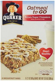 Quaker Oatmeal To Go, Brown Sugar Cinnamon Breakfast Bars, 2.1 oz. Bars, 6-Count (Pack of 6)