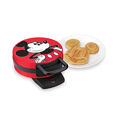 Disney Mickey Mouse Non-Stick Electric Waffle Maker, Red and Black