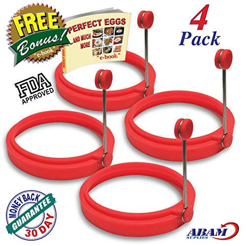 NEW Chef Silicone Egg Ring- Pancake Breakfast Sandwiches – Benedict Eggs – Omelets and More Nonstick Mold Ring Round, Red (4-pack)