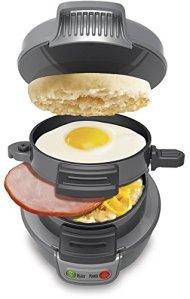 New Hamilton Beach 25475 Gray Non-Stick Breakfast Sandwich Maker/Toaster