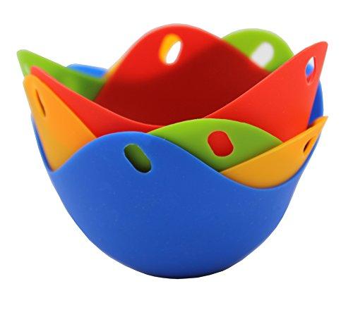 Silicone Non Stick Colorful Egg Poacher Boiler Pods – Egg Cups Cookware, Set of 4