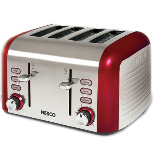 Nesco T1600-12 4-Slice Stainless Steel Toaster with Red Trim