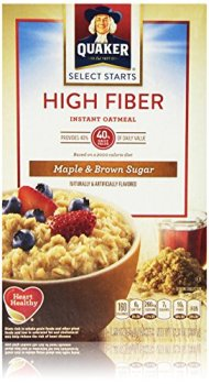 Quaker Oats High Fiber Instant Oatmeal, Maple Brown Sugar, 12.64 Ounce