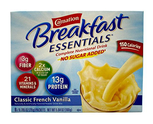 Carnation Instant Breakfast Essentials, Classic French Vanilla, No Sugar Added, 8-Count Packets (Pack of 4)