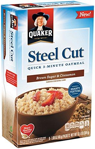 Quaker Steel Cut Quick 3 minutes Oatmeal, Brown Sugar and Cinnamon, 13 .5 Ounce