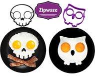 Egg Shaper Owl & Skull Set of 2 Nonstick Silicone Egg Ring Mold, Purple Owl Shaped Egg Ring, Black Skull Shaped Egg Ring Food Grade Silicone Fried Egg Pancake Molds