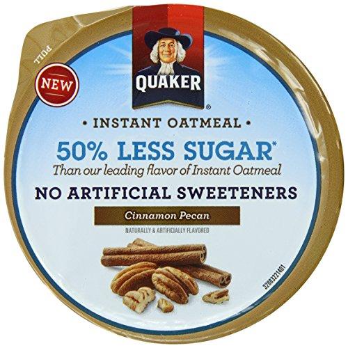 Quaker Instant Oatmeal Express Cups 50% Less Sugar, Cinnamon Pecan, 1.41 Ounce