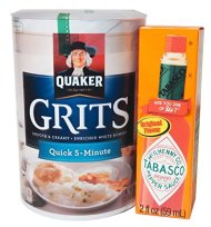 Complete Southern Man's Survival Kit. Bundle Includes Two Items: Quaker Grits (1lb 8oz) and Tabasco Sauce (2oz)