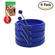 BPA-free, non-stick silicone egg ring by Piatelli kitchen for grill, frying pan, and griddle. Includes free egg ring guide (blue)
