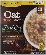 Better Oats Steel Cut Maple Brown Sugar, 10 Count, NET WT 15.1 oz