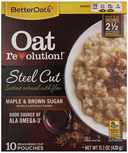 Better Oats Steel Cut Maple Brown Sugar, 10 Count, NET WT 15.1 oz