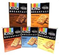 Kind, Breakfast Bars, NEW! VARIETY 5 Pack + FREE Beverage Bottle. 1 Box of Each: DARK CHOCOLATE COCOA, HONEY OAT, PEANUT BUTTER, RASPBERRY CHIA, BLUEBERRY ALMOND. Each Box Contains 8 Bars.