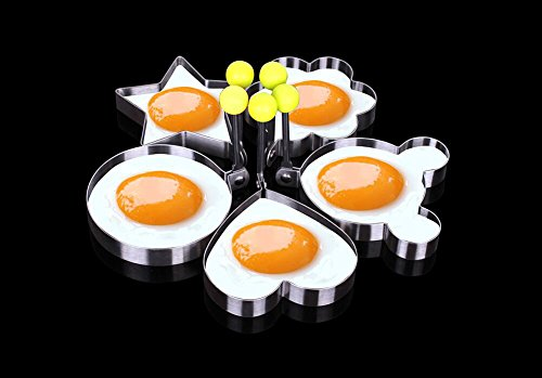Topbest 5-Shape Fried Egg Rings Non Stick Stainless Steel Pancake Mold Cooking Tools for Making Cakes, Meatloaf, Biscuits and Other Delicious Food