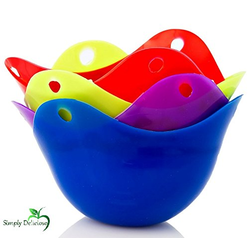 Silicone Non Stick Colorful Premium Egg Poacher Boiler Pods – Egg Cups Cookware, 4 Pack Egg Cups Cookware – Microwave Egg Cooker or Egg Boiler