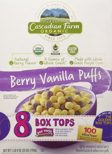 Cascadian Farm Organic Berry Vanilla Puffs Breakfast Cereal (Family Size 25 Oz)