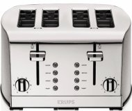 KRUPS KH734D Breakfast Set Toaster with Brushed and Chrome Stainless Steel Housing, 4-Slices, Silver