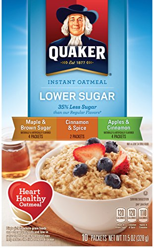 Quaker Instant Oatmeal Lower Sugar, Flavor Variety Pack, 10 Count Boxes, 11.5 Ounce, (Pack of 4)