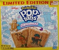 Pop Tarts Frosted Gingerbread Printed Fun Toaster Pastries, 16 count, 2-Boxes