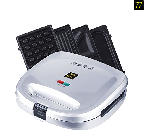 ZZ S6141A-S 4 in 1 Breakfast Waffle Omelette and Sandwich Maker with 4 Sets of Detachable Non-Stick Plates, Silver