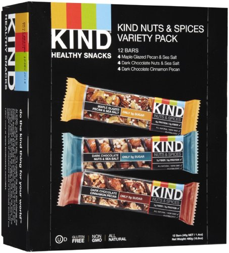 KIND Bars, Nuts and Spices Variety Pack, Gluten Free, 1.4 Ounce Bars, 12 Count