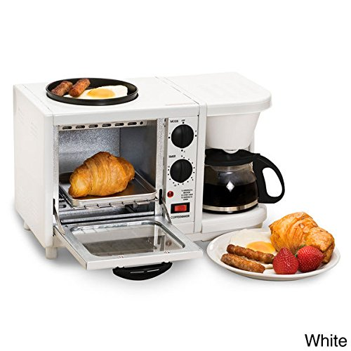 White Maxi Matic Versatile 3-in-1 Mini Breakfast Maker-Toaster Oven,Coffeemaker, Griddle 10.8 Inches High x 11.8 Inches Wide x 17 Inches Long With E-book Gift