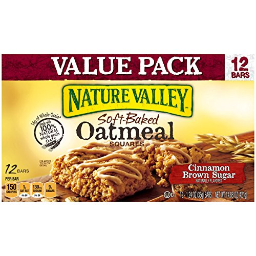 Nature Valley Cinnamon Brown Sugar Soft-Baked Oatmeal Squares 1.24 oz, 12 Count (Pack of 6)