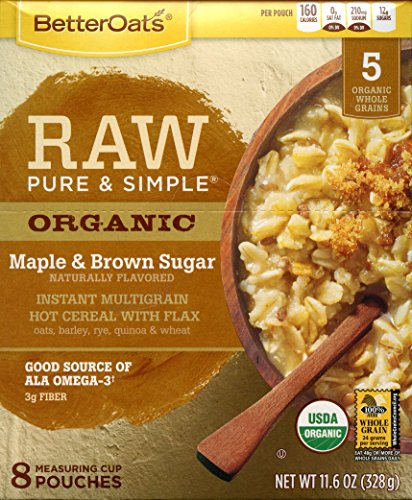 Better Oats Raw Pure & Simple Organic Maple & Brown Sugar Instant Multigrain Hot Cereal with Flax