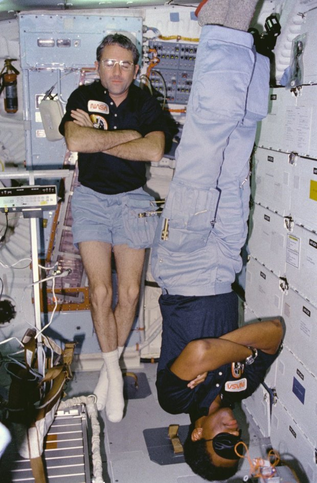 Truly and Bluford Asleep on Middeck (Public Domain) sleeping in space