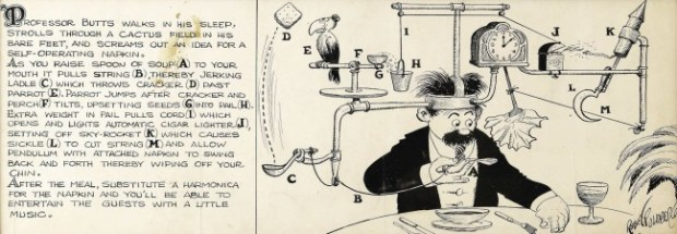 Rube Goldberg sleepwalker dream invention The Self-Operating Napking