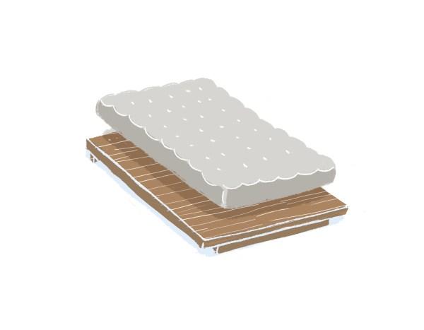 芝麻豆腐胡桃木床架+床墊組合(無床頭板)|單人加大
