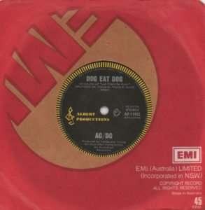 "AC/DC Dog Eat Dog - Original 1977 Australian-only 7"" single on the black Albert Productions label with yellow rim, silver print & 'Roo' logo click here"