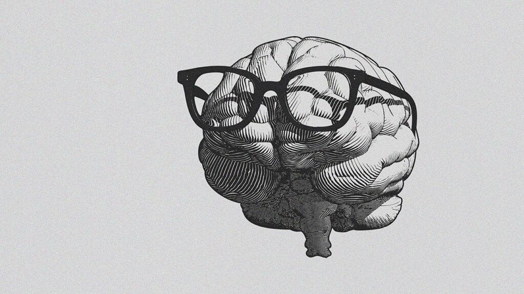 Stylized brain wearing glasses