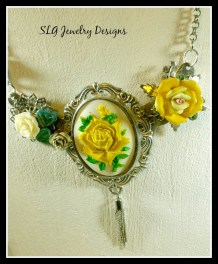 Pewter yellow rose statement piece