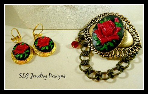 Rose earrings and bracelet--red