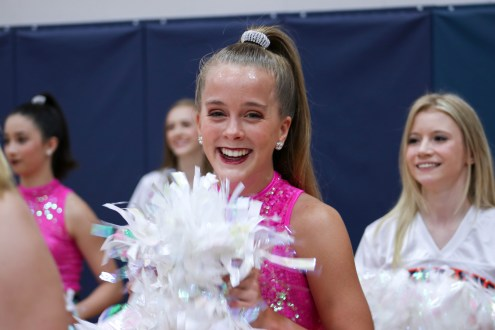 Junior Julia Nicholson performs at the first pep rally.